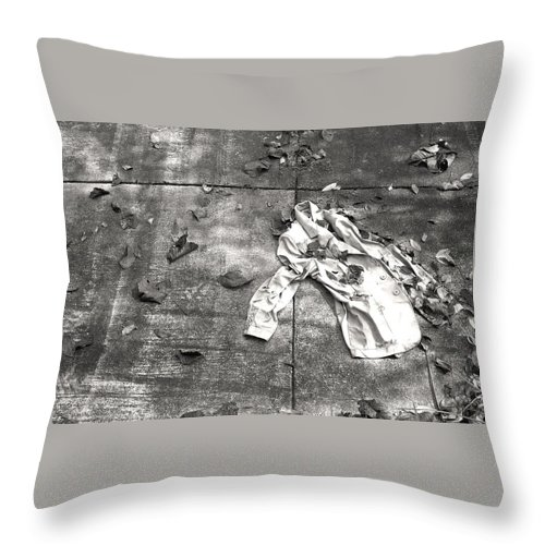 Black And White Photograph Throw Pillow featuring the photograph Lost Jacket by Ted M Tubbs