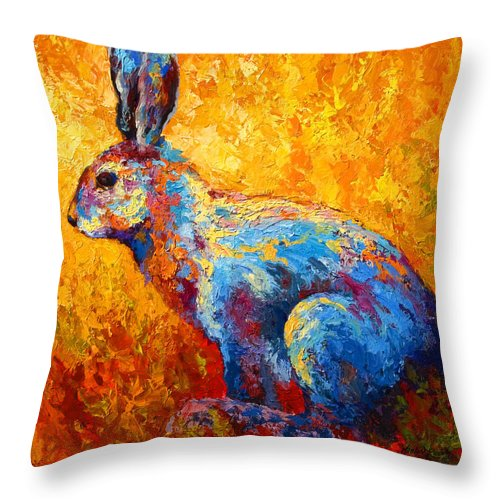 Rabbit Throw Pillow featuring the painting Jackrabbit by Marion Rose