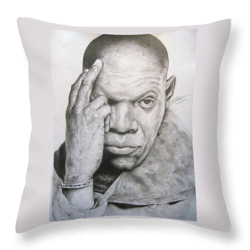 Portrait Throw Pillow featuring the drawing Jackson By Kyle Anderson by Joyce Owens