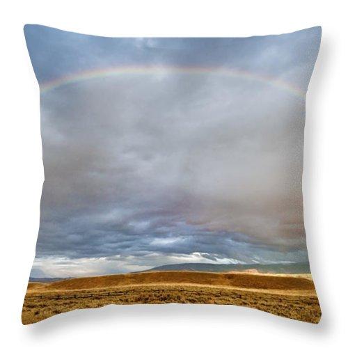 Grand Teton Throw Pillow featuring the photograph Jackson Hole Rainbow by Sandra Bronstein