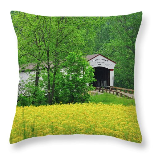 Jackson Covered Bridge Throw Pillow featuring the photograph Jackson In Yellow by David Arment