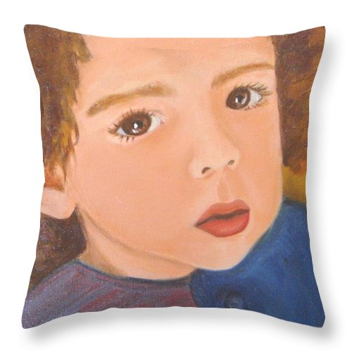 Portrait Throw Pillow featuring the painting Jackson by Laurie Morgan