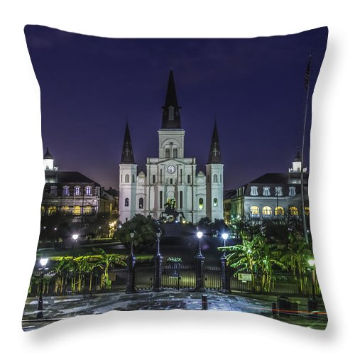 Jackson Square Throw Pillow featuring the photograph Jackson Square And St. Louis Cathedral At Dawn, New Orleans, Louisiana by Chris Coffee