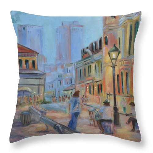 New Orleans Throw Pillow featuring the painting Jackson Square Musicians by Ginger Concepcion