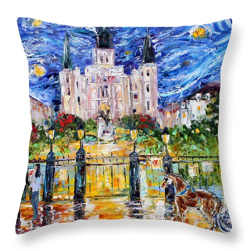 Starry Night Throw Pillow featuring the painting Jackson Square New Orleans by Karen Tarlton