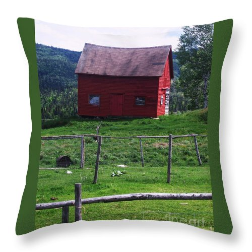 Photograph Newfoundland Jackson Cove Boat Grass Throw Pillow featuring the photograph Jackson's Cove by Seon-Jeong Kim