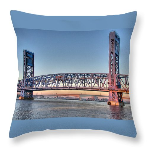 Bridge Throw Pillow featuring the photograph Jacksonville's Blue Bridge At Sunrise by Farol Tomson