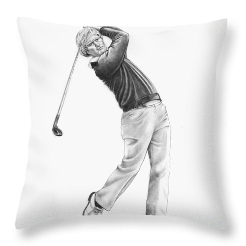 Jack Nickolas Throw Pillow featuring the drawing Jacl Nicklaus by Murphy Elliott