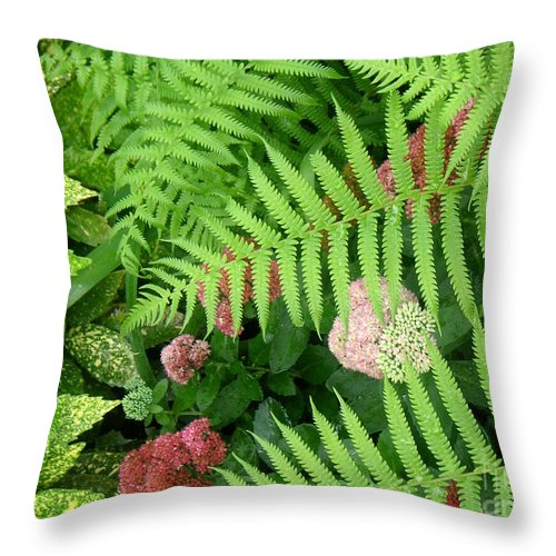 Nature Throw Pillow featuring the photograph Jacqueline's Garden - Camaraderie Of Textures by Lucyna A M Green