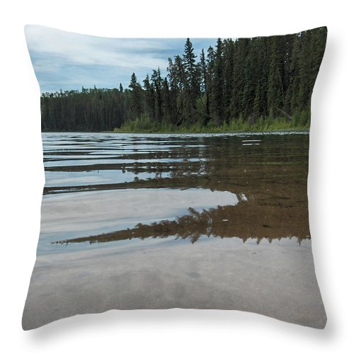 Jade Lake Piprell Lake Hanson Lake Road Northern Saskatchewan Water Clear Forest Trees Throw Pillow featuring the photograph Jade Lake by Andrea Lawrence