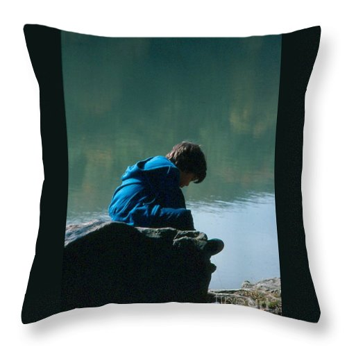 Silhouette Throw Pillow featuring the photograph Jadon Pondering by Penny Neimiller