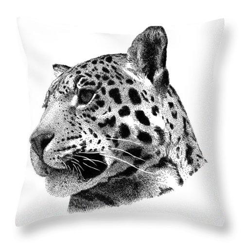 Jaguar Throw Pillow featuring the drawing Jaguar by Scott Woyak