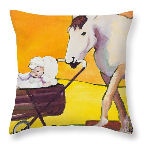 Animal Throw Pillow featuring the painting Jake by Pat Saunders-White