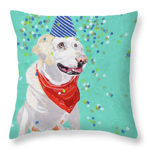 Party Animal Throw Pillow featuring the painting Jake The Party Animal by Pamela Trueblood