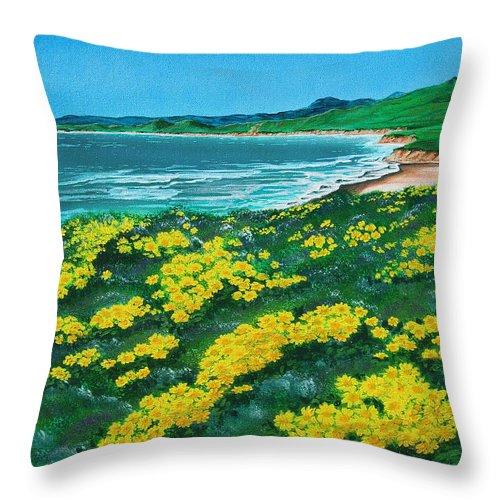 Jalama Throw Pillow featuring the painting Jalama Beach by Angie Hamlin