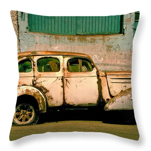 Skip Throw Pillow featuring the photograph Jalopy by Skip Hunt
