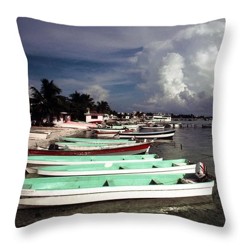 Fishing Throw Pillow featuring the photograph Jamaican Fishing Boats by Herman Robert