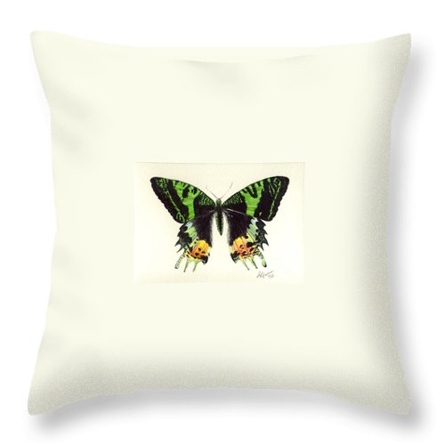 Butterfly Throw Pillow featuring the painting Jamaican Jewel by Lynn Quinn