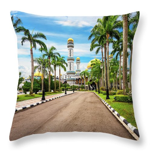 Elena Riim Throw Pillow featuring the photograph Jame'asr Hassanil Bolkiah Mosque In Brunei by Elena Riim