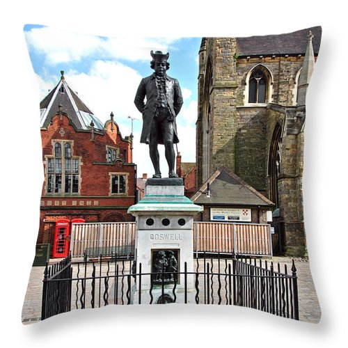 Red Throw Pillow featuring the photograph James Boswell Statue - Lichfield by Rod Johnson