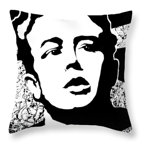 James Dean Throw Pillow featuring the painting James Dean by Curtiss Shaffer