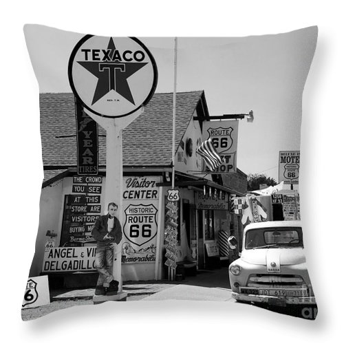 James Dean Throw Pillow featuring the photograph James Dean On Route 66 by David Lee Thompson