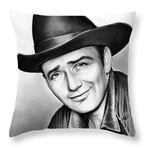 James Drury Throw Pillow featuring the drawing James Drury by Greg Joens