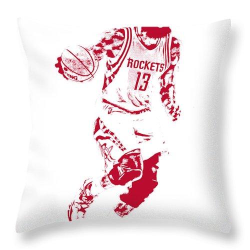 James Harden Throw Pillow featuring the mixed media James Harden Houston Rockets Pixel Art by Joe Hamilton