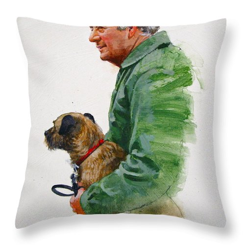 Portrait Throw Pillow featuring the painting James Herriot And Bodie by Cliff Spohn