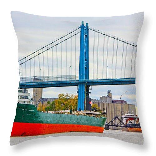 James M Schoonmaker Throw Pillow featuring the photograph James M Schoonmaker And The Anthony Wayne Bridge by Jack Schultz