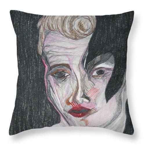 Bowie David Dean Drawing James Merge Darkest Artist Darkestartist Man Men Mixed Throw Pillow featuring the drawing jamesBowie by Darkest Artist