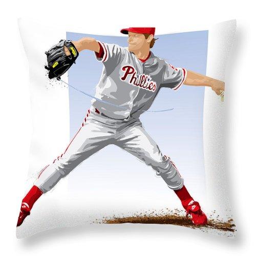 Jamie Moyer Throw Pillow featuring the digital art Jamie Moyer by Scott Weigner