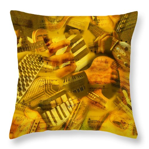 Guitar Throw Pillow featuring the photograph Jammin by Linda McRae