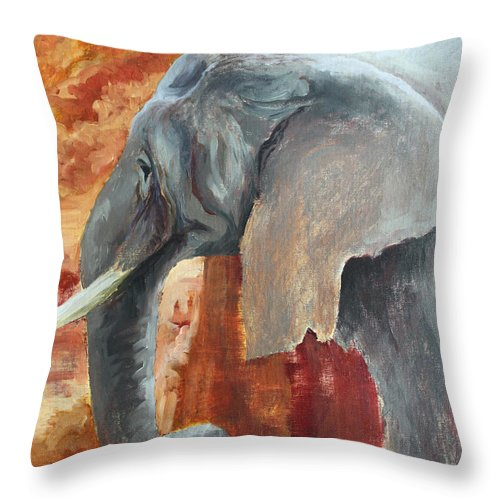 Animal Throw Pillow featuring the painting Jana by Todd Blanchard