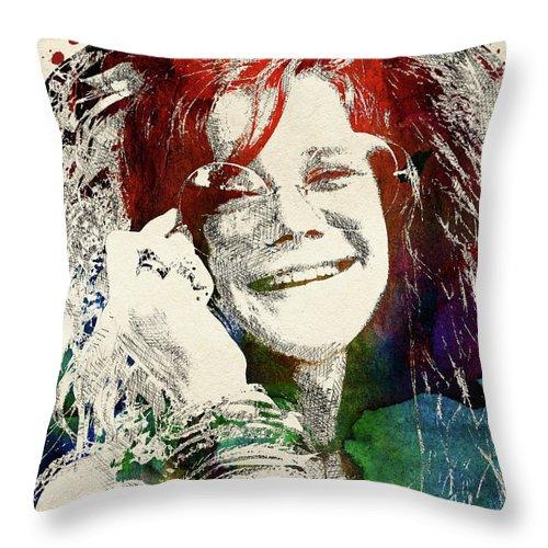 Janis Joplin Throw Pillow featuring the digital art Janis Joplin Portrait by Mihaela Pater
