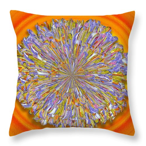 Digital Throw Pillow featuring the digital art Jannell -- Floral Disk by Mark Sellers