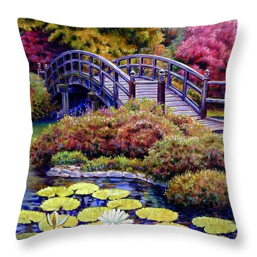 Japanese Bridge Throw Pillow featuring the painting Japanese Bridge by John Lautermilch