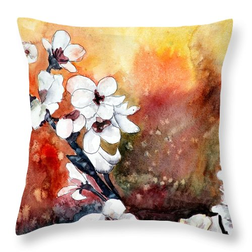Watercolor Throw Pillow featuring the painting Japanese cherry blossom abstract flowers by Derek Mccrea