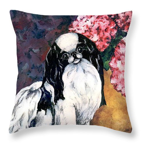 Japanese Chin Throw Pillow featuring the painting Japanese Chin And Hydrangeas by Kathleen Sepulveda