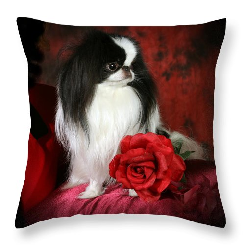Japanese Chin Throw Pillow featuring the pyrography Japanese Chin and Rose by Kathleen Sepulveda