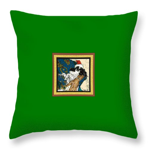 Japanese Chin Throw Pillow featuring the digital art Japanese Chin Christmas by Kathleen Sepulveda