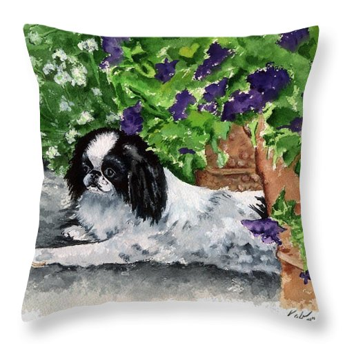 Japanese Chin Throw Pillow featuring the painting Japanese Chin Puppy And Petunias by Kathleen Sepulveda
