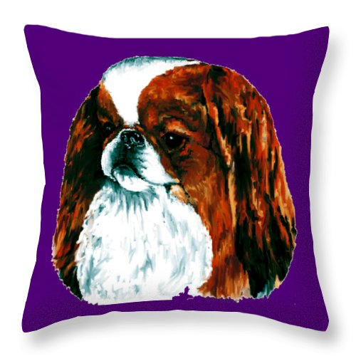 Japanese Chin Throw Pillow featuring the digital art Japanese Chin, Sable by Kathleen Sepulveda