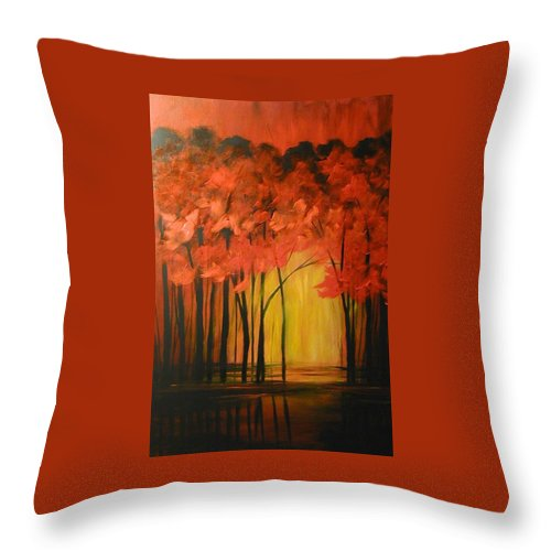 Abstract Throw Pillow featuring the painting Japanese Forest by Sabina Surya Naya