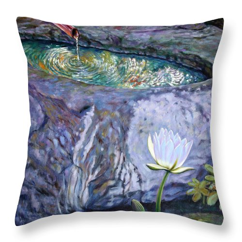 Garden Throw Pillow featuring the painting Japanese Fountain With Lily by John Lautermilch