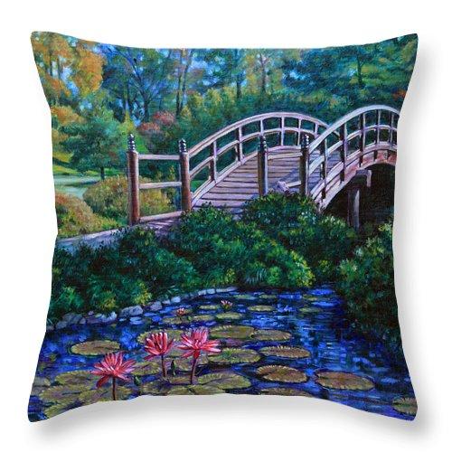 Japanese Bridge Throw Pillow featuring the painting Japanese Garden Bridge by John Lautermilch