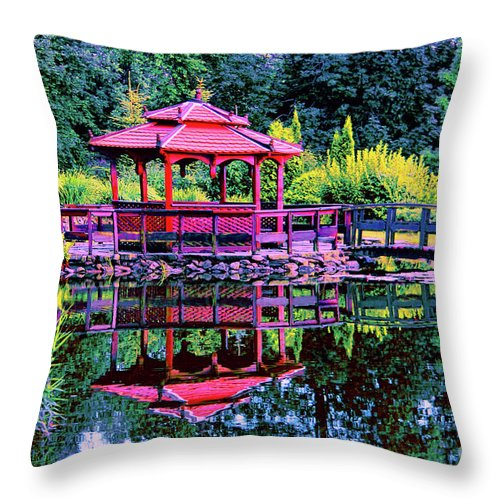 Japanese Garden Throw Pillow featuring the photograph Japanese Garden by Mariola Bitner
