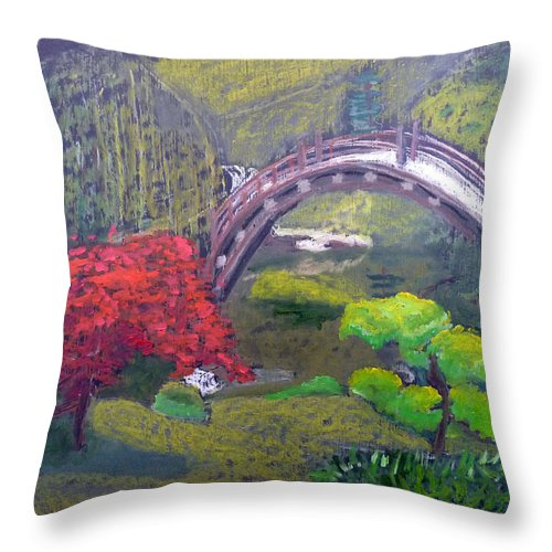 Japanese Garden Throw Pillow featuring the painting Japanese Garden by Richard Le Page