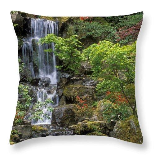 Waterfall Throw Pillow featuring the photograph Japanese Garden Waterfall by Sandra Bronstein