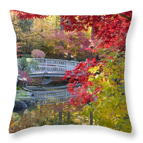 Gardens Throw Pillow featuring the photograph Japanese Gardens by Idaho Scenic Images Linda Lantzy